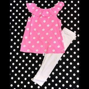 EUC Girl's sz 7 Carter's pink/white polka dot set!
